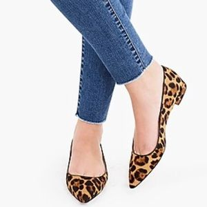 New J.Crew Pointed-toe flats leopard calf hair 8.5